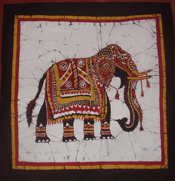 Batik Cushion Cover With Elephant Design