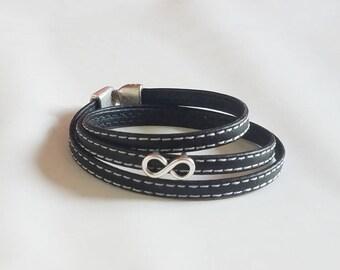 Black stitching + infinity leather bracelet