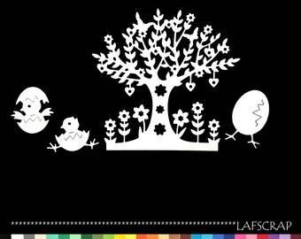 scrapbooking heart flower chick Easter egg tree cutouts cut paper embellishment die cut creation