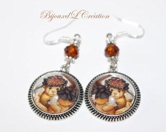 Teddy bear vintage cabochon earrings