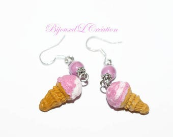 Ice cream cone pink and white polymer clay earrings