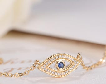 Diamond Necklace Sapphire Pendant Unique Egyptian Evil Eye Turkish Blue Eye Gold Chain Necklace Marquise Pave Dainty Bezel Set Cluster Gift