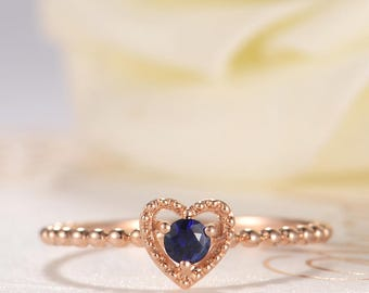 Sapphire Engagement Ring Rose Gold Solitaire Heart Shaped Halo Birthstone Anniversary Promise Antique Retro Eternity Beaded Women Stacking