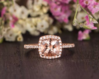 Morganite Ring Rose Gold Engagement Ring Cushion Cut Antique Diamond Halo Retro Anniversary Promise Gift Women Bridal Wedding Half Eternity
