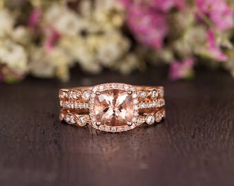 Morganite Engagement Ring Set Rose Gold Cushion Cut Diamond Halo Antique Retro Anniversary Promise Women Art Deco Wedding Band Half Eternity