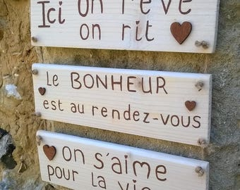 wooden message sign