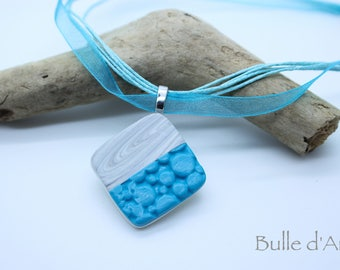 Pendant Necklace in polymer clay blue and gray on the organza Ribbon