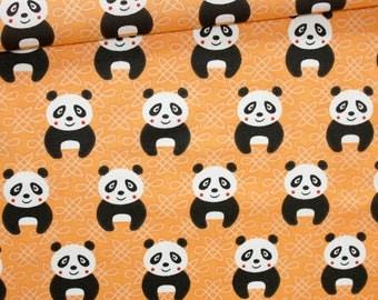 Panda, 100% cotton fabric printed 50 x 160 cm, panda on orange background