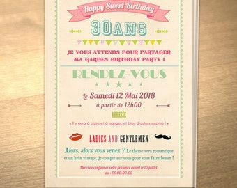 Personalized printable birthday invitation theme: Retro
