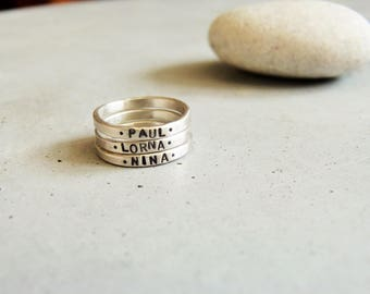 Customizable ring * Lorna * stackable ring silver brushed (matte) and the engraving