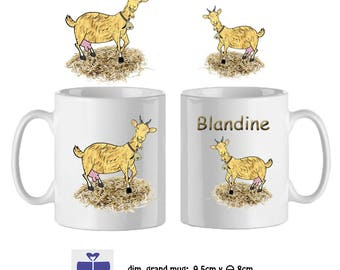 Goat mug personalized with a name (ex. Blandine)