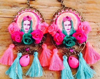 "Pair of earrings from the series ""i Love Frida Kahlo"". unique hand made."