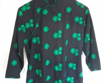 L 50s 60s Dress Asian Cheongsam Qipao Sheath Wiggle High Collar Black Green Embroidered Flowers Shamrock Extra Large