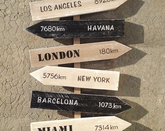 Panel 8 customizable directions with arrows, painting pallet wood industrial vintage