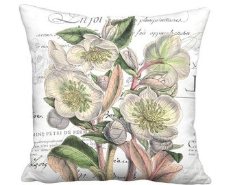 Small Pillow Cover - Pillow - Hellebore Heaven Pastel French Botanical Country Cottage - 12x12 or 14x14 Inch