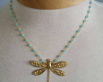 Brass dragonfly pendant on chalcedony gold plate rosary chain