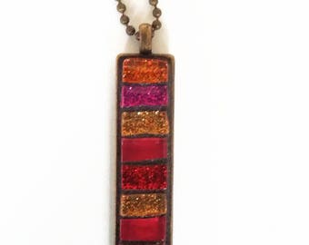 Red mosaic necklace bronze rectangular pendant