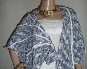 Handmade knit shawl, gray and white shades