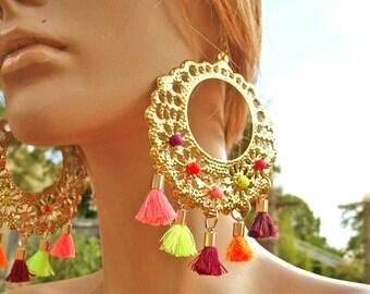 Large pinwheel earrings and tassels Miami