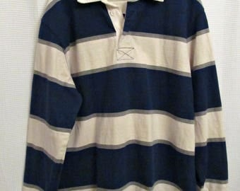 Vintage rugby shirt - blue and white men's X-large 90s rugby polo in excellent condition