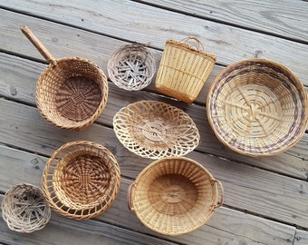 Vintage wall basket collection.  8 basket collection.  Boho, eclectic baskets, wall gallery