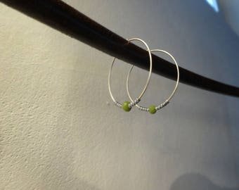Silver hoop earrings and miyuki beads