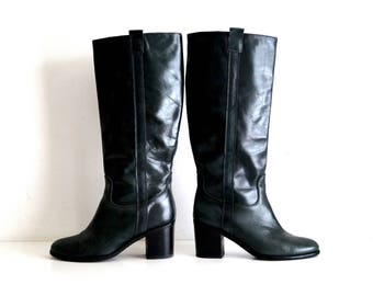 CAROLL Leather Boots Eu 39 UK 6 US 8,5 Dark green genuine leather womens boots With Heels Knee hight leather boots Tall boots Chunky heel