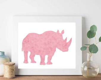 Rose Gold Foil Rhino Print, Pink Gold Rhino Print, Rhino Print, Minimalist Decor, Animal Print, Nursery Art, Nursery Decor