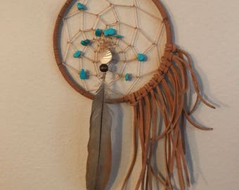 Fancy Fringe Turquoise Small Dream Catcher