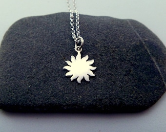Sun Necklace - 925 Sterling Silver Sun Pendant - Sun Jewelry - Sunburst Charm Necklace