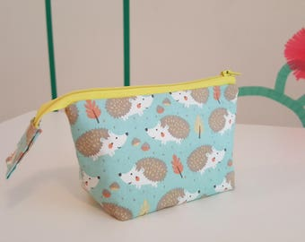 Unique little hedgehog pouch, cosmetic bag, zippered pouch, open wide, double-sided