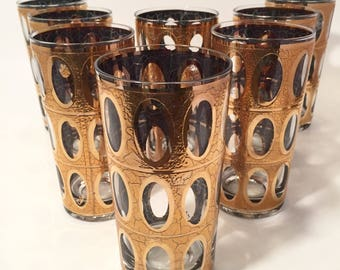 Mid Century Tumblers, Culver Pisa Gold Glasses, Set of 8 Hollywood Regency Style Tumblers, Gold Barware