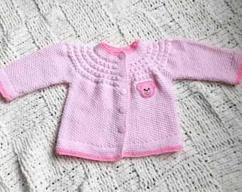 Baby Knit sweater/cardigan - pink teddy bear