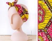 Headband wax / Accessoire de coiffure femme wax / Bandeau femme ethnique / Wax jaune soleil et rose framboise
