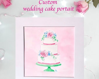 Custom wedding cake portrait, wedding cake illustration, personalised wedding gift, wedding thank you gift,wedding cake art,white background