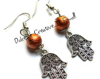 Hand of Fatima earrings with Orange beads - handmade