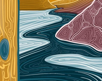 "Mountain Digital Print, Colourful Landscape, Landscape Print, Art Print, ""Golden Valleys"""
