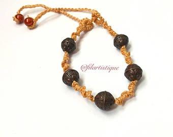 Brown cotton waxed at @filartistique bracelet