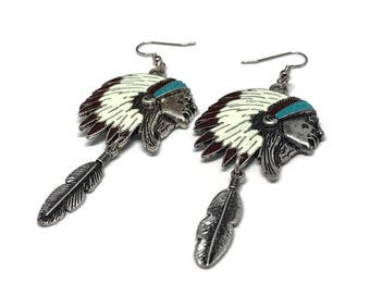 Indian chief jewelry| headdress earrings| headdress earrings| native american indian jewelry| native american earrings| boho earrings
