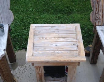 Trapezoid End Table Custom Size Outdoor Treated Wood Handmade Heavy Duty