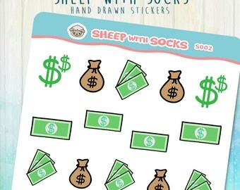 Pay Day Sticker Money Bank Bag Of Money Abundance Stickers Hand Drawn Calendar Scrapbook Bills Money Excited Pay Check Law Of Attraction