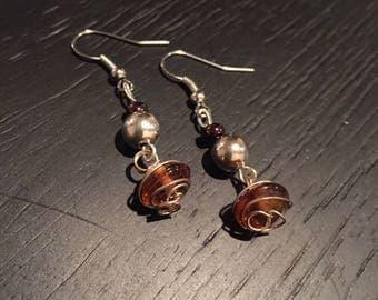 Handmade Bronze Silver Swirl Earrings