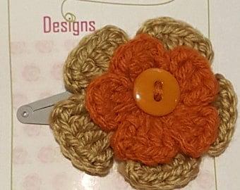 orange and beige flower hair clip