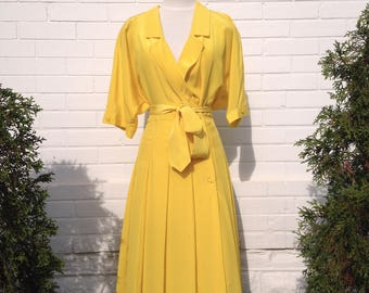Vintage Yellow 1980s Dress with Polka Dots