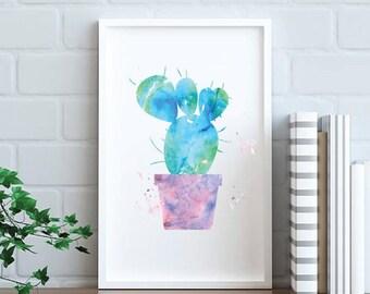 CACTUS print, Printable art, Watercolor art, Cactus Wall Decor, Cacti art Cactus art Instant download Cactus Decor Boho Decor Minimalist art