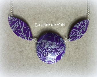Multifaceted silver purple handmade polymer clay necklace