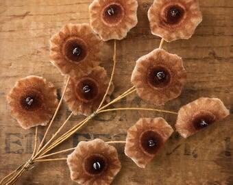 Millinery Flowers | Brown Velvet | Vintage Millinery | Red Velvet Flowers | Flower Appliqué | Antique Millinery | 1 Bundle | A30