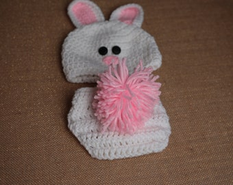 Easter Bunny Diaper Cover & Hat