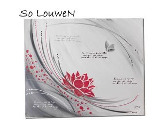 FLOWERS 61 * 50cm painting on 1 acrylic painting canvas black, white, red and silver pattern flower