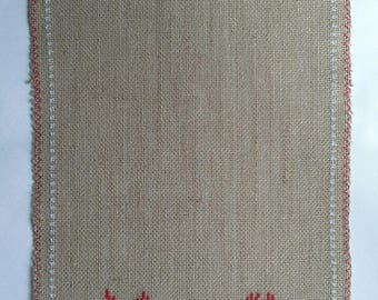 table runner cross stitch on burlap canvas Christmas 1 m 20